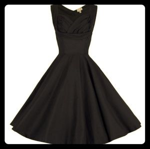 Lindy Bop Ophelia Black Satin Dress 2XL